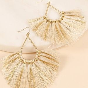 NEUTRAL OVERSIZED TEARDROP FAN TASSEL EARRINGS